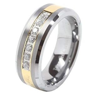 Other - Tungsten Ring Cz Inlay Gold Plated Titanium Color